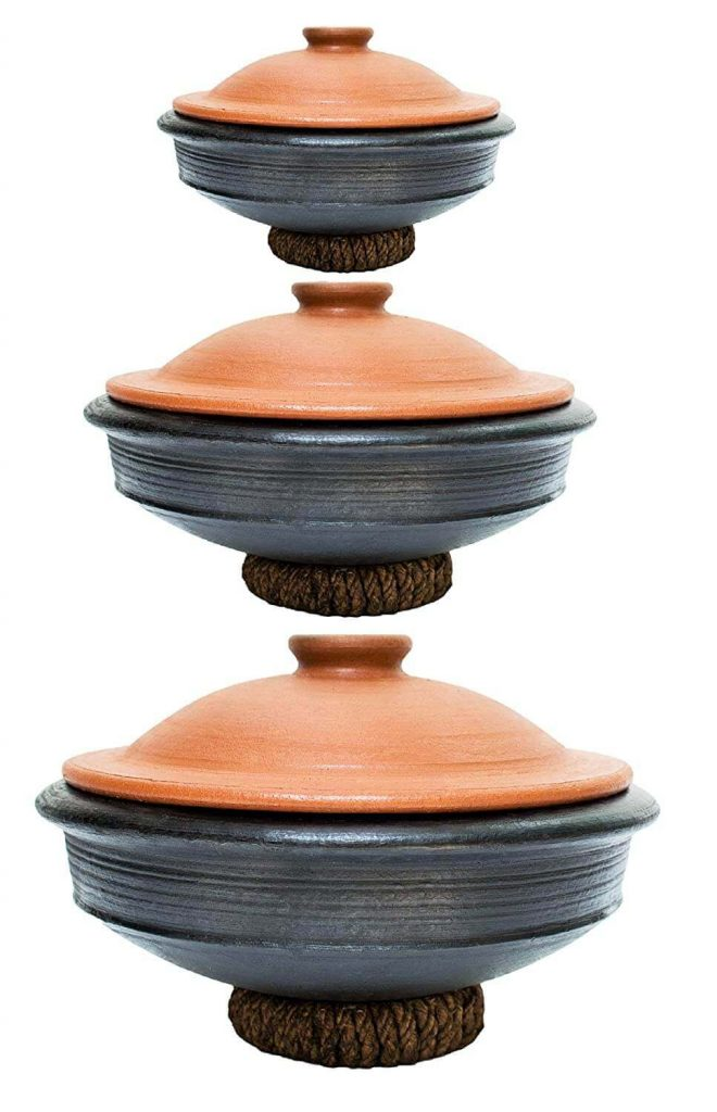 Craftsman India Online Earthen Kadai, Clay Pots Combo For Cooking