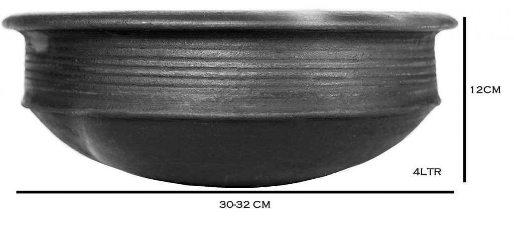 Craftsman India Online Pottery Clay Pot/Earthen Kadai for Cooking and Serving-4 liter